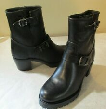 NEW Women's FRYE Sabrina Moto Engineer Black Leather Boots, Sz 9.5 M - $498