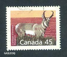 CANADIAN POSTAGE - PRONGHORN L'ANTILOPE D'AMERIQUE 1990 45 CENTS STAMP - CANADA