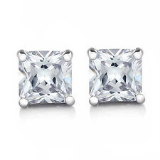 COOL Silver/White Gold Filled Flawless Cubic Zirconia Mens Stud Earrings,Z2481