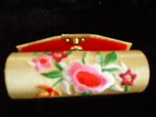 3, RED -LIGHT PINK - BEIGE EMBROIDERY LIPSTICK CASES WITH MIRROR HARD CASE NEW