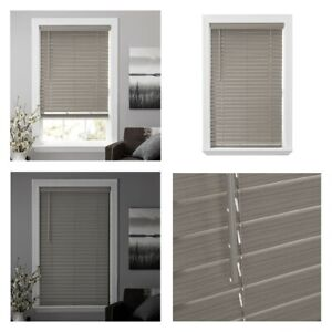 """New, Better Homes & Gardens 2-inch Cordless Faux Wood Blinds, Gray. 29""""W x 64""""L"""