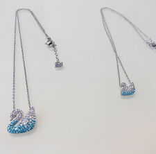 Swarovski Iconic Swan Pendant Necklace Jewelry Blue, White Gold Color