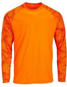 Sun Protection Long Camo Sleeve Dri Fit Neon Orange sunshirt  base layer SPF 50+
