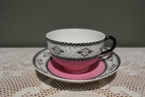 Antique Victorian Royal Worcester Cup & Saucer - Pink Black White - 1919 - RC