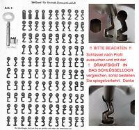 3von5 BUNTBARTSCHLÜSSEL Nr. 97-172 ZIMMERTÜR EINSTECKSCHLOß SCHLÜSSEL PROFILE