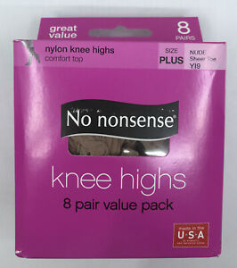 No Nonsense * Plus Size * Knee Highs Color Nude Sheer Toe 8 Pair Value Pack NEW