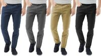 Mens Chinos Designer Trousers Stretch Pants Skinny Slim Fit All Sizes Leg