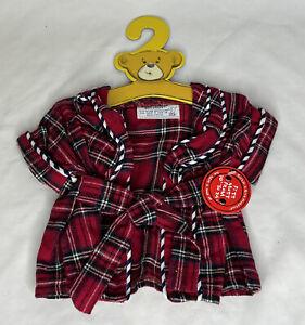 Build a Bear Red White Blue Plaid Robe New