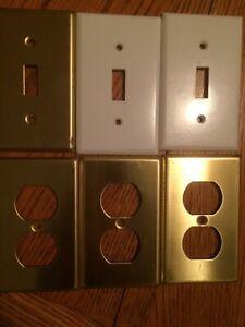 6 Brass Wall Plates & White Switch Covers Leviton 81011-PB 81001 FREE SHIPPING!