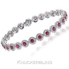 Diamond 8.15ct F VS Round Brilliant and 5.65ct Ruby Bracelet in 18ct White Gold