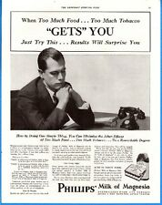 "Vintage 1933 Phillips Milk Of Magnesia ""Too Much Food"" Original Print Ad"