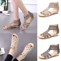 Womens Crystal Low Wedge Gladiator Sandals Summer Open Toe Zipper Shoes Sz 5-8.5