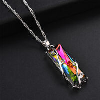 Rainbow Crystal Rhinestone Charm Pendant LongChain Necklace Bridal JewelryGF tx