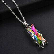 Rainbow Crystal Rhinestone Charm Pendant Long Chain Necklace Bridal JewelryPLGR