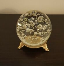 Glass Crystal Ball And Base Stand Approx 4 Inch Ball Home Decor ~