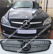 Mercedes C w204 Saloon, Raíces, Coupe Grill, Star/Diamante, Single Fin, AMG C43, Plata