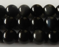 50pcs 8mm Round Natural Gemstone Beads - Obsidian Black