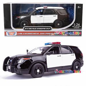 2015 Ford Explorer Police Interceptor Unmarked 1:24 Motormax 76958 B/W 8inch