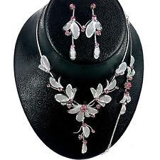 Flower Pink Rhinestone with Mesh Leaf Necklace,Bracelet & Earring set Wedding