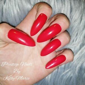 Press On False Nails Extra Long Stiletto Hollywood Red Glitter 10pc set Drag