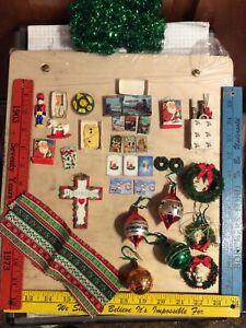 Vintage Dollhouse Porcelain Santa Doll Christmas Toys Furniture Accessories Lot