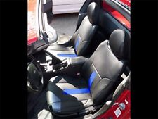 HONDA DEL SOL 1993-1997 BLACK/BLUE S.LEATHER CUSTOM FIT FRONT SEAT COVERS