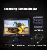 "12V-24V Car Reversing Camera 4Pin + 7"" LCD Monitor Truck Bus Van Rear View Kit"