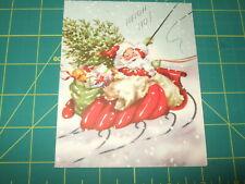 vintage card Christmas midcentury 1948 1940s  santa in red sleigh volland used