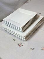"Home Porcelain, Set Of 10White Square Plates: 5-10"" Dinner& 5- 8"" Salad Dishes N"