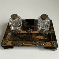 Antique Walnut And Brass Desk Set Stand With Original Ink Wells, Stamp &Pen Tray