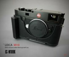 LIM'S Genuine Leather Camera Half Case + Dovetail Plate Grip For Leica M10 Black