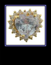Cubic Zirconia Heart Fashion Ring 10K Yellow Gold Lavender & White