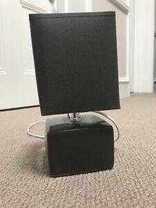 Modern Table Lamp Dark Grey Cube Base Lighting Bedside Light small screw bulb