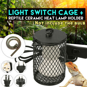 Reptile Ceramic Heat Lamp Light Bulb Switch Cage Pet Snake Brooder Cover Holder
