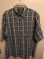 WOOLRICH Men's Size Large Outdoor Shirt S/S Vented Zippered Pocket Blue Plaid