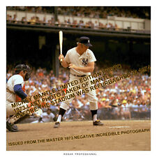 MICKEY MANTLE YANKEES STADIUM JULY 1971 date 12x12 RARE DELUXE LUSTER PAPER HQ
