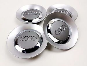 4x150mm AUDI Gray Wheel Center Caps Logo Emblem Badge Hub Rim Caps 8E0601165