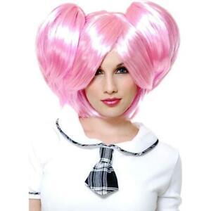 Madoka Kaname Wig Pink Anime Fancy Dress Halloween Adult Costume Accessory