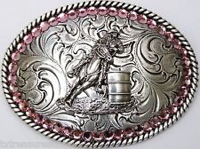 NOCONA BUCKLES western cowgirl accessories pink BARREL RACER buckle NWT w/ Box