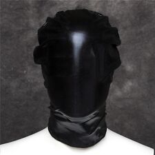 PVC Wet Leather Look Full Head Hood Fetish Dungeon Restraint Mask Blindfold