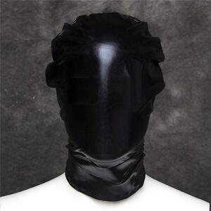 PVC Wet Leather Look Full Head Hood Fetish Dungeon Restraint Mask Blindfold