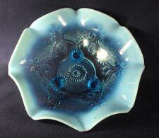 Northwood Lattice Medallion blue opalescent footed bowl B2
