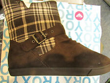 "NEW ROXY ""JUNE"" BROWN WINTER BOOTS WOMENS 8 MICROSUEDE & PLAID"