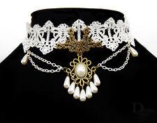 Bronze Weiß Perlen Spitzen Kette Gothic Punk Halsband Kropfband Halskette
