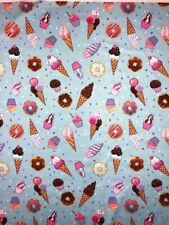 Cute Cupcake Ice cream Sprinkles Donuts Doodle Pattern Stretchy Jersey Fabric