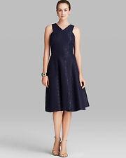 $298 CYNTHIA STEFFE Blue Metallic Jacquard Fit Flare Midi Cocktail Dress 4 M3020