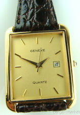 14K Gold Mens Geneve Leather Band Quartz Date Wrist Watch New