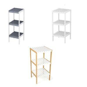 3 Tier Book Shelf Unit Bamboo Bookcase Bathroom Kitchen Storage Rack Display