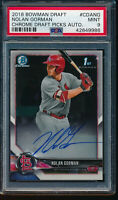 NOLAN GORMAN AUTO 2018 1st Bowman Draft Chrome Autograph Rookie RC PSA 9 MINT