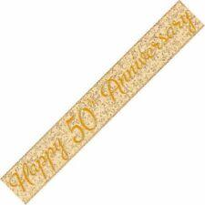 Unique Party 10874 - 12ft Prism Happy 50th Anniversary Banner